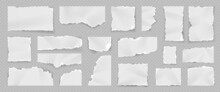 Realistic Torn White Paper Pieces, Rips, Scraps And Stripes. Notebook Blank Tear Page. Shredded Sheet Squares. Ragged Note Paper Vector Set