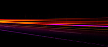 Night Road Lights. Lights Of Moving Cars At Night. Long Exposure Red, Blue, Orange, Multicolored