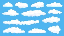 Cartoon Fluffy White Clouds On Summer Blue Sky. Cloudy Weather Comics Elements. Simple Flat Abstract Cloud Shape For Game Or Logo Vector Set