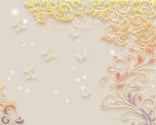 3D Flower Wallpaper Background For  Backside