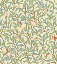 Vintage Birds In Foliage With Birds And Fruits Seamless Pattern On Light Beige Background. Middle Ages William Morris Style. Vector Illustration.