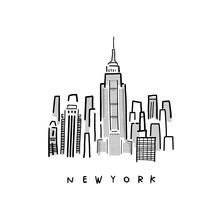 Vector Sketch Hand Drawing Of New York City. Icon Graphic For Poster, Map And T-shirt