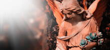 Antique Statue Of Wonderful Angel. Ancient Statue. Copy Space, Close Up.