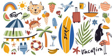 Summer Season Flat Illustrations Set. Isolated On White. Surf, Toucan, Flamingo, Crab, Airplane, Beach, Palm, Fruit, Cat. Tropic And Exotic Doodle Cute Collection.