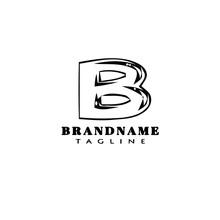 Letter B Cartoon Logo Icon Design Template Cute Isolated Vector Illustration