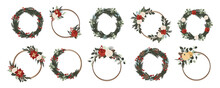 Set Of Christmas Winter Floral Frames And Wreaths With Red And White Roses, Poinsettia Flowers, Spruce Branches, Pine Cones And Green Leaves. Vector Illustration In Hand Drawn Cartoon Flat Style