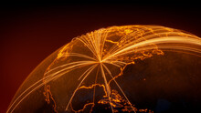 Futuristic Neon Map. Orange Lines Connect Chicago, USA With Cities Across The Globe. Worldwide Travel Or Networking Concept.