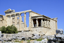 Ruins Of The Famous Erechtheum Temple At Athens, Greece