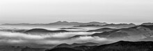 B&W Panorama Of Mountains, Fog, Clouds, Layers