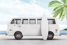 Retro Van With Surfboard Branding Mockup. 3d Rendering