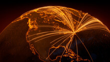 Futuristic Neon Map. Orange Lines Connect Boston, USA With Cities Across The Globe. Global Travel Or Communication Concept.