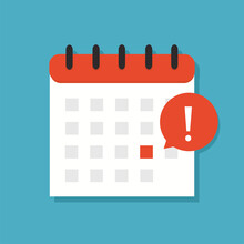 Calendar Icon With Exclamation Mark. Appointment, Schedule, Important Date. Deadline On A Calendar, Event Notification. Vector Illustration.