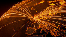 Futuristic Neon Map. Orange Lines Connect Dublin, Ireland With Cities Across The World. Global Travel Or Networking Concept.