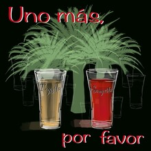 Two Shots Of Tequila And Sangrita With Palm Trees Behind On A Black Background