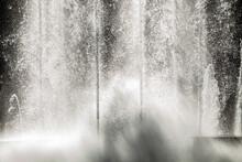 Close Up Of Water Fountain Violently Splashing Jets Splash