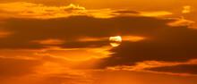 Telephoto Photo Of Yellow Orange Sunset Sunrise, Clouds, Sky Golden Hour