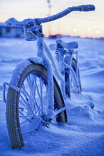 The Arctic Deep Freeze. Townie Bikes Of The Arctic Are A Bit Slow On Their Roll But Still A Lot Of Fun. A View Through The Window Of Life In The Arctic.