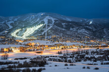 Twilight Photo Of Steamboat Springs Ski Resort, Colorado After A Fresh Snowfall.