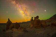 Three Hoodoos Sit Under Three Planets (from Left To Right: Mars, Saturn, Jupiter) In The Clear Utah Night Sky.