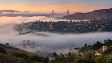 A Rare Valley Fog Pattern Creates Layers In The Beautiful Hills Of Belvedere-Tiburon, With The Golden Gate In The Background.