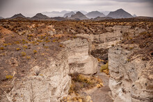 Tuff Canyon And Chisos Mountains On Cloudy Day