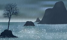 A Rainy Day On The Foamy Seashore. Rocks Rise Above The Water. A Lonely Tree Growing.