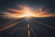Empty Airplane Runway With Dramatic Sunset