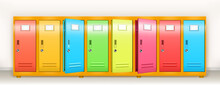 Colorful Lockers, Vector School Or Gym Changing Room Metal Cabinets. Row Of Multicolored Storage With Closed And Open Doors, Keys And Name Plates In College Or Office Hallway Realistic 3d Illustration