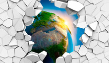 3d Picture Of The Globe In A Destroyed Wall