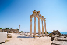 Tourists Visiting Apollo Temple In Side Turkey