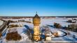 canvas print picture - Wasserturm in Lippstadt im Schnee aus der Luft - Drohnenperspektive Landschaftsfotografie