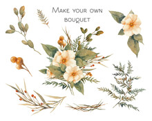 Hand Painted Floral Elements Set. Watercolor Botanical Illustration Of Fern, Rose Flowers, Branches And Leaves. Natural Objects Isolated On White Background