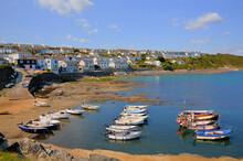 Portscatho Roseland Peninsula Cornwall South West UK Harbour With Boats Cornish Coast