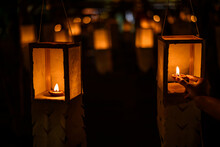 Candle  Lighting Paper Lanterns ,  Lantern Festival Or Yee Peng Festival (North Of Thailand New Years) , Chiang Mai ,Thailand