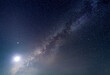 the milky way with bright moon light in stary night