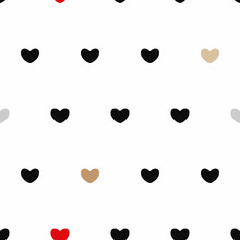 Vector Cute Hearts In Chic Colors On White Seamless Pattern Background. Perfect For Web Design Fabric, Wallpaper And Scrapbooking Projects.