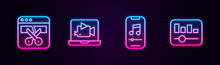 Set Line Video Recorder Or Editor, Online Play Video, Music Player And Equalizer. Glowing Neon Icon. Vector