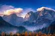 Leinwandbild Motiv Triglav mountain peak at sunrise