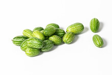 Melothria Scabra, Mexican Sour Cucumber Gherkin Isolated On White Background