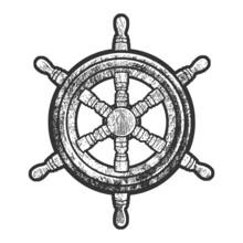 Vintage Wooden Ship Steering Wheel Sketch Engraving Vector Illustration. T-shirt Apparel Print Design. Scratch Board Imitation. Black And White Hand Drawn Image.
