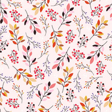 Autumn Seamless Background. Colorful Pattern With Fall Leaves, Branches And Berries.
