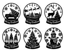 Snow Globe Vector Set. Paper Cut Template. Merry Christmas Phrase. Snowman, Tree, Snowflake, Truck, Deers, Gnomes, Santa. For Postcard, Window And Wall Decorations. Illustrations Isolated On White.