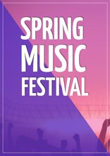 Spring Music Festival Text Against Pink And Blue Dual Done Background