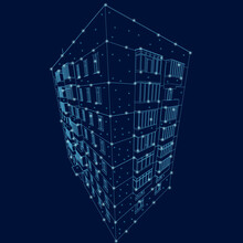 The Contour Of A Multi-storey Building Made Of Blue Lines On A Dark Background With Glowing Lights. 3D. Vector Illustration