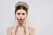 Princess Luxury Naked Shoulders Cosmetics Fashion Light Background