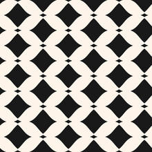 Abstract Vector Mesh Pattern. Seamless Illustration With Diamond Grid And Wavy, Curved Black And White Shapes. The Simple Pattern Is Used In Wallpapers, Prints, Packaging, Covers And Textiles.