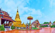 Panorama Of Wat Phra That Hariphunchai Temple With Chedi And Chatra Umbrella, Lamphun, Thailand