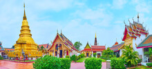 Panorama With Chedi And Shrines Of Wat Phra That Hariphunchai Temple, Lamphun, Thailand