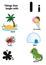 Things That Start With The Letter I. Educational, Vector Illustration For Children.