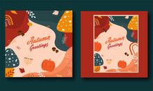 Autumn Greetings Card Or Poster Design In Two Options.
